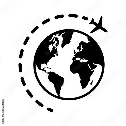 World Or International Traveling On An Airplane Flat Icon For Travel Apps And Websites