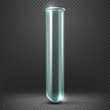 Realistic Vector Empty Glass Test Tube Template Isolated On Transparent Checkered Background.