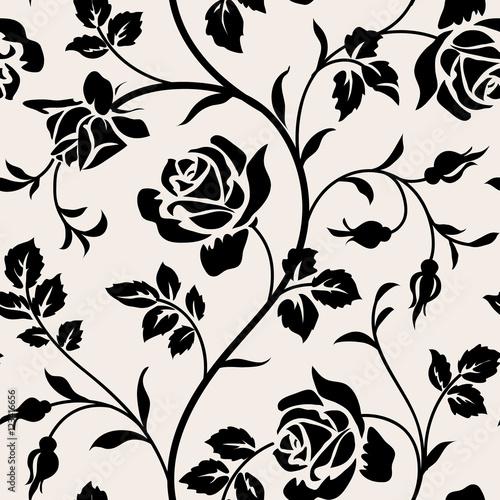 rocznik-tapeta-z-kwitnacymi-rozami-i-liscmi-falowy-bezszwowy-wzor-dekoracyjna-galaz-kwiatow-czarna-sylwetka-na-bialym-tle