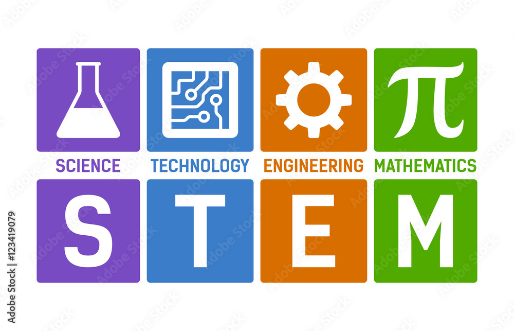 Fototapeta STEM - science, technology, engineering and mathematics flat color vector illustration with words