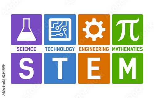 Fototapeta STEM - science, technology, engineering and mathematics flat color vector illustration with words obraz