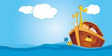 Noahs Ark Floating In The Ocean