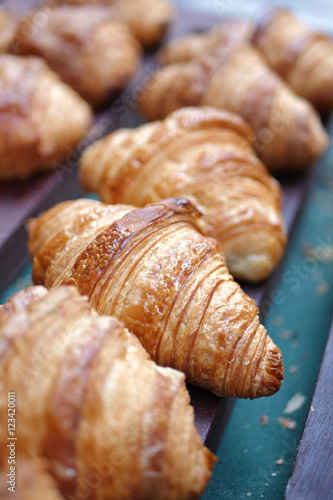 delicious croissant close up shot Fototapeta