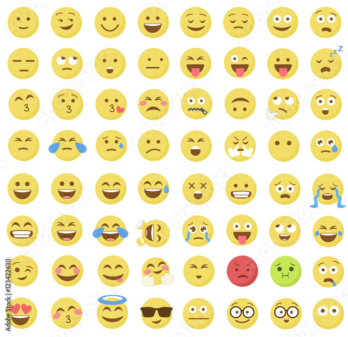 Emoticon emoji set.   icon.   design.   flat.   art.   image. Poster