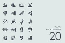 Set Of Rock Climbing Icons