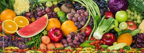 Foto op Aluminium Vruchten Group of fresh fruits and vegetables organics