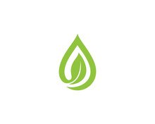 Oil Water Drop & Leaf Logo 2
