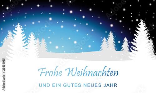 Foto-Doppelrollo - Weihnachten - Karte mit Winterlandschaft (in Blau) (von ii-graphics)