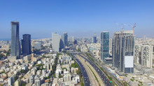 Tel Aviv Skyline - Aerial Photo Of Tel Aviv's Center With Ayalon Freeway