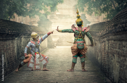 Photo  Khon is traditional dance drama art of Thai classical masked, this performance i