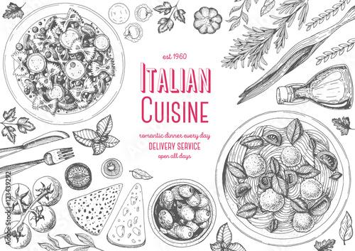Carta da parati Italian cuisine top view frame