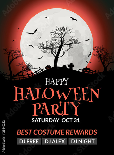 Flyer Or Poster Design Template Invitation Layout Wuth Tree Moon And Bat