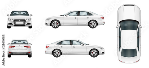 Car vector template on white background. Business sedan isolated. Separate groups and layers.