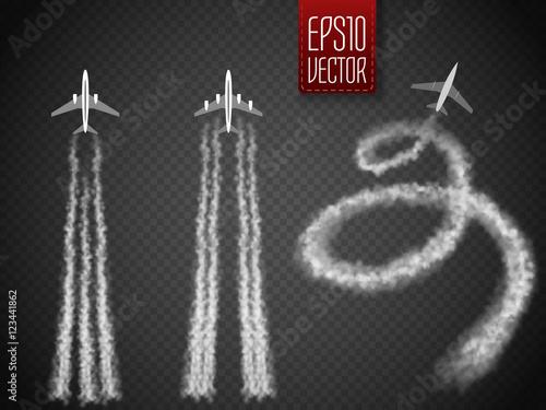 Fotografía  Vector Airplane with condensation trail illustration.