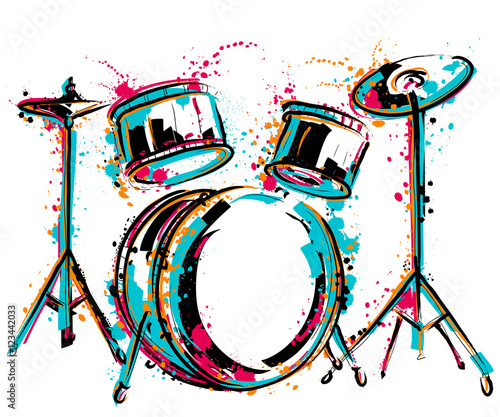 Obraz na plátně Drum kit with splashes in watercolor style