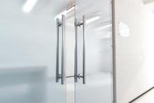 Blank Glass Door With Metal Ha...