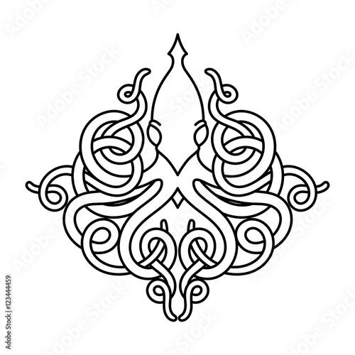 Flat linear kraken illustration Canvas Print