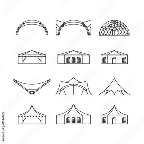 Icon set of various types event tent. Folding tent, canvas roof, wedding tent, canopy. Vector illustration. Wall mural