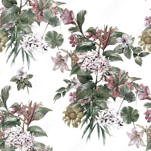 akwarela-obraz-lisc-i-kwiatow