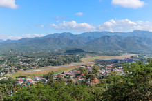 Aerial View Of Mae Hong Son City And Runway Airport In Thailand.
