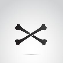 Crossed Bones Vector Icon.