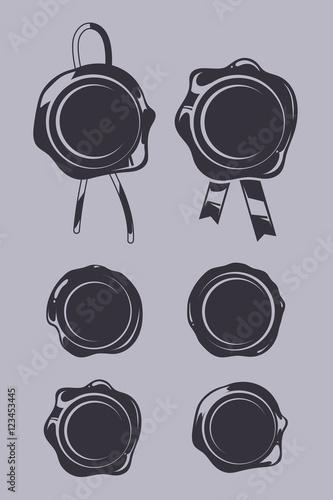 Fotografie, Obraz Wax seals black vector templates set