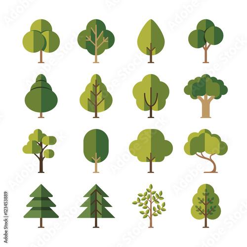 Fotografija  Green summer forest tree flat vector icons