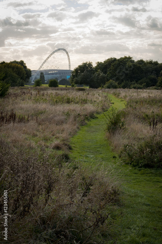 The wembley stadium at the end of a path Wallpaper Mural