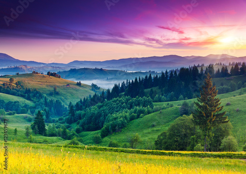 Foto op Canvas Nachtblauw mountains landscape