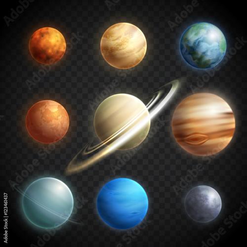 Obraz na plátne Planets Realistic Transparent Set