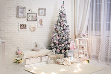 Christmas Room In Shabby Chic Style. Decorated New Year Tree With Gift Boxes Under It Near Evening Window.