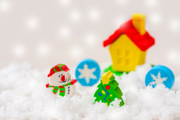 Christmas decorations with toy hut.