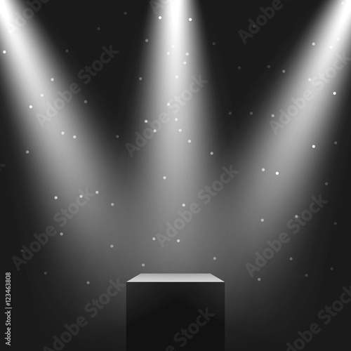 Valokuvatapetti Pedestal with three light sources, vector illustration.