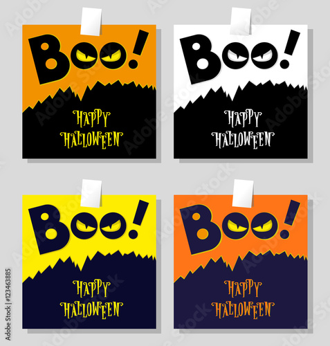 Fényképezés  Set of Halloween banner: title Boo and black monster with scary face looks out of the darkness