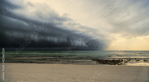 Scenic view of storm clouds over sea