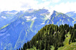 Panoramic view of the Alps in Switzerland on a hot summer day