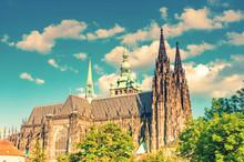 Saint Vitus Cathedral  In Prague, Czech Republic. Toned Image