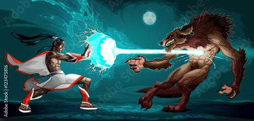 Fighting scene between elf ...