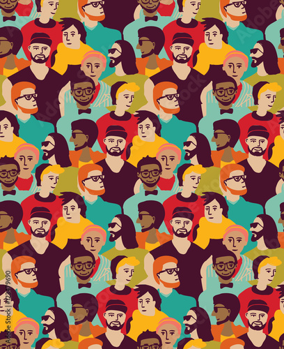 Poster Geometrische dieren Man only crowd big group color seamless pattern.