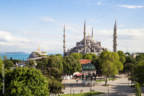 Printed kitchen splashbacks Turkey The Blue Mosque Istanbul, Turkey. Sultanahmet park. The biggest mosque in Istanbul of Sultan Ahmed (Ottoman Empire).
