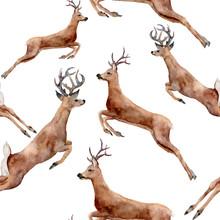 Watercolor Running Deers Seaml...