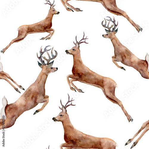 Watercolor running deers seamless pattern. Christmas wild animal illustration isolated on white background for design, print or background