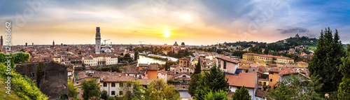 City on the water Verona at sunset in Italy