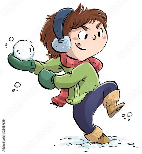 Valokuva  niño jugando con la nieve