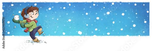 Fotografia, Obraz  niño jugando con la nieve