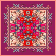 Lovely tablecloth with birds and flowers. Beautiful ethnic vector ornament. Card, bandana print, kerchief design, napkin - 3.