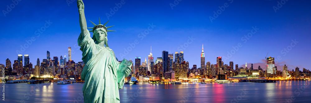 Fototapety, obrazy: New York City Panorama bei Nacht