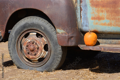 Old Rusting Vintage Farm Truck With Pumpkin Decoration Buy