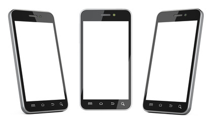 Black smartphone with blank screen left, right and front view.
