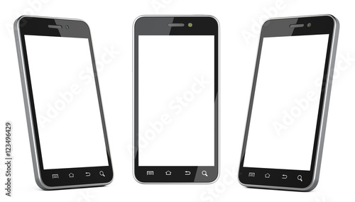 Fotografía  Black smartphone with blank screen left, right and front view.